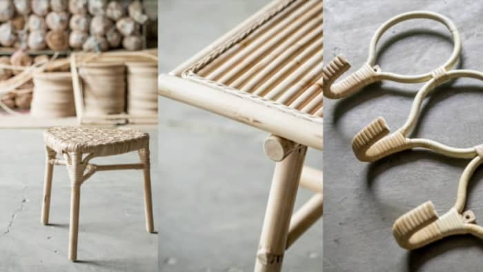 Stools and wall hangers from TÄNKVÄRD collection, an example of sustainable design using only eco-friendly materials.