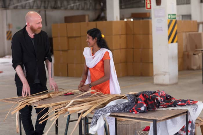 An Indian artisan talking with the IKEA designer responsible for ANNASTANS collection.