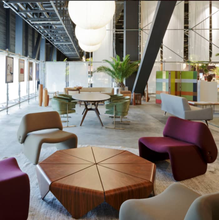 Lounge setting created at Design Miami/ Basel with iconic ETEL products