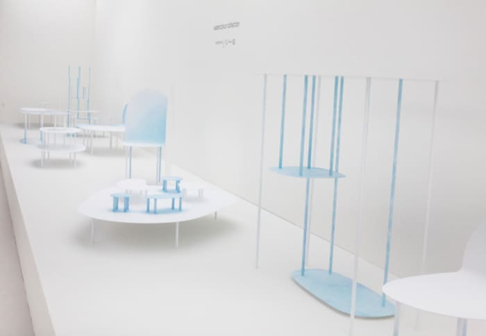 View of some pieces from the Watercolour Collection presented at Design Miami/ Basel by Nendo