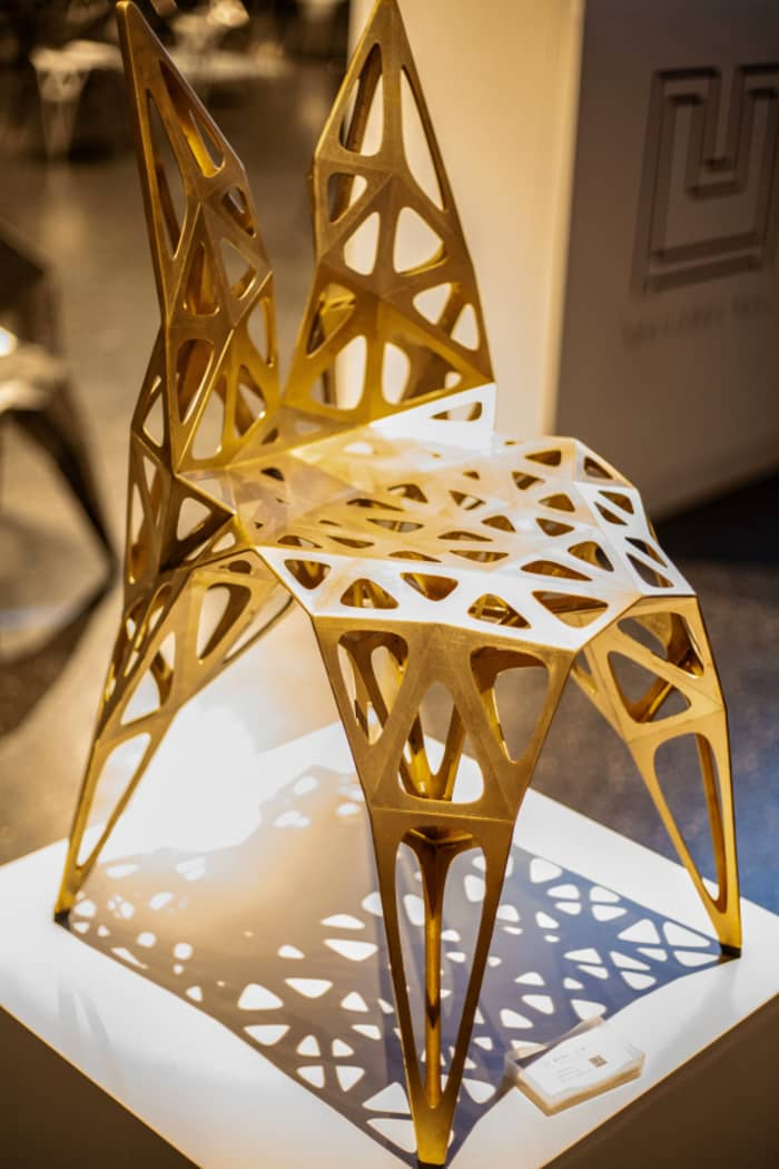 A chair created with the aid of artificial intelligence to fit the user's body perfectly