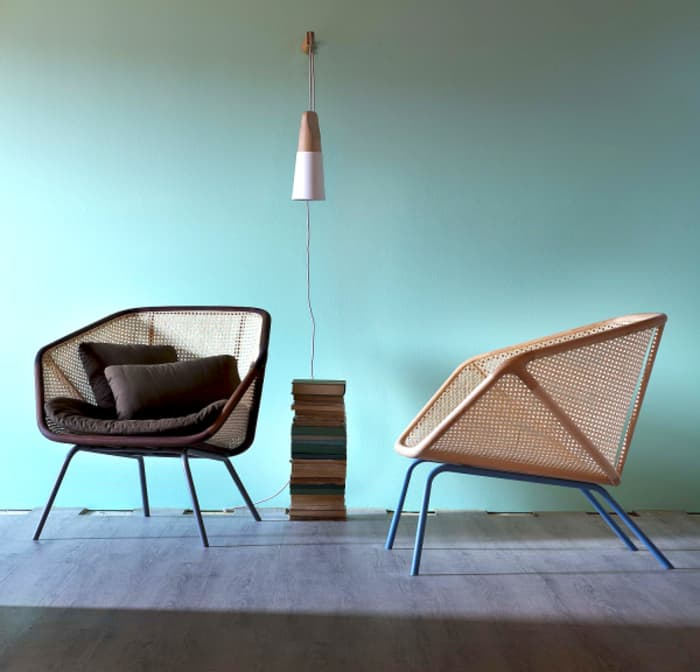 Colony armchair, example of modern Vienna straw design by Skrivo Design for Miniforms.