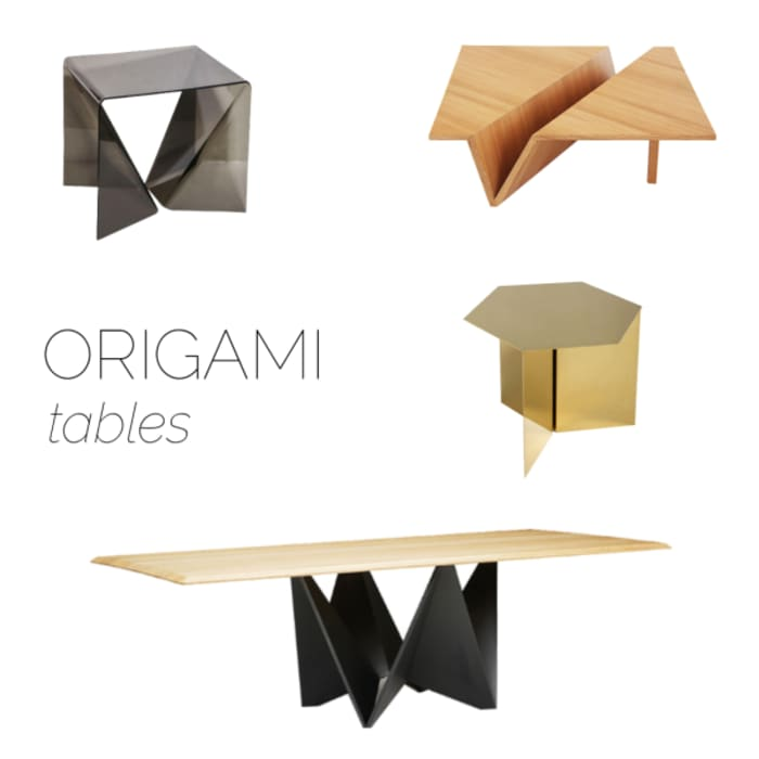 Moodboard of tables with origami-inpired design.