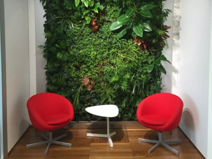 Full wall garden wall design in a modern conversation area.