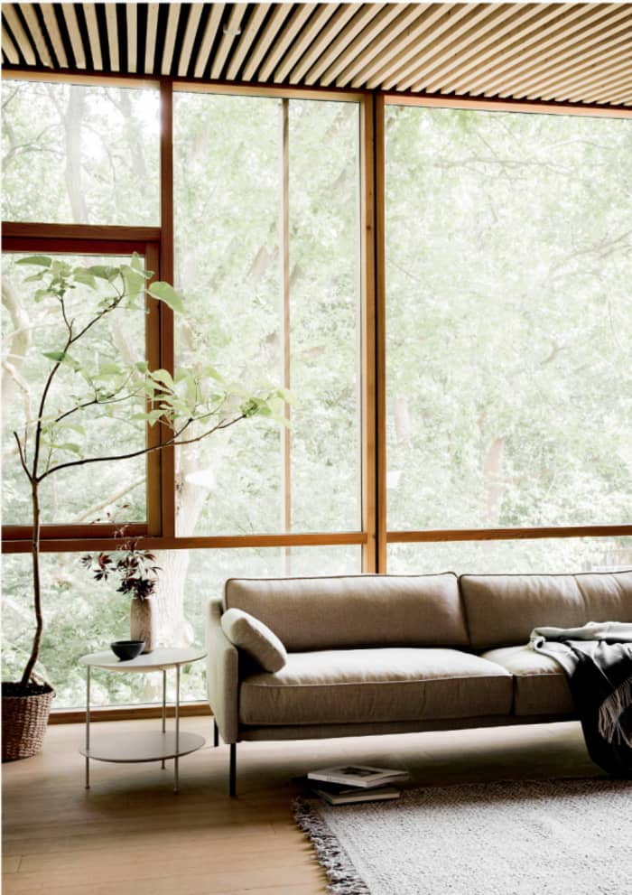 Full-height window in a minimalist living room, great example of biophilic design.