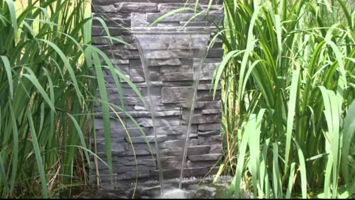 Wall water fountain, great and easy example of biophilic design.