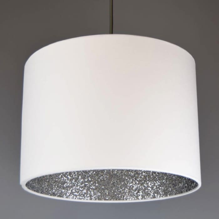White lamp shade with sequin inside, by Quirk.