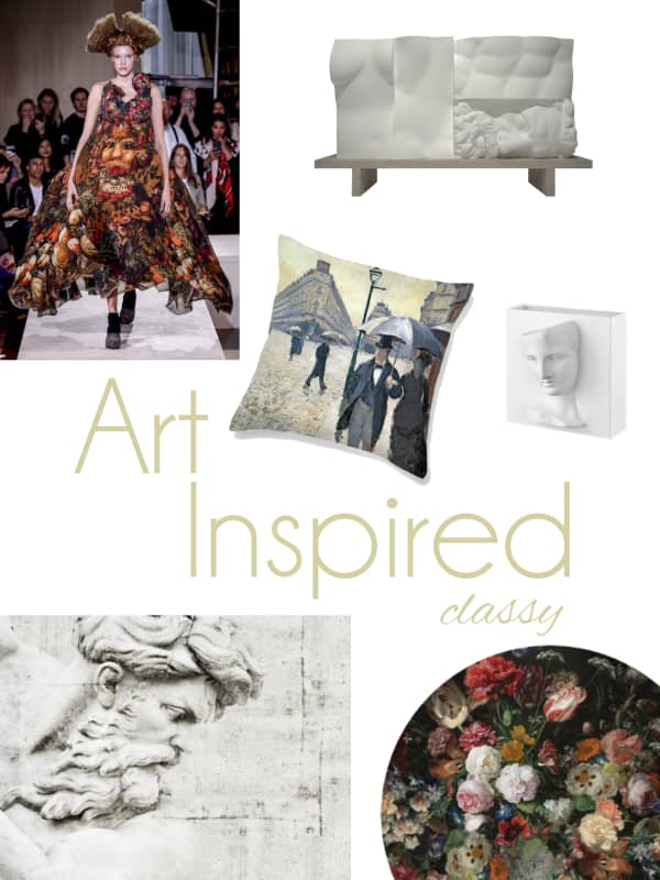 Art-inspired classy mood board: a selection of furniture and accessories.