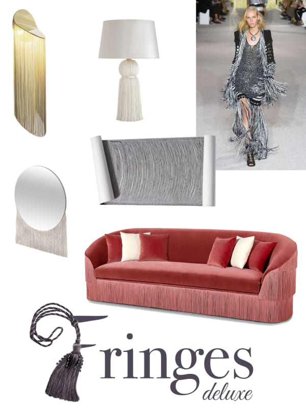 Fringes deluxe mood board: a selection of furniture and accessories.