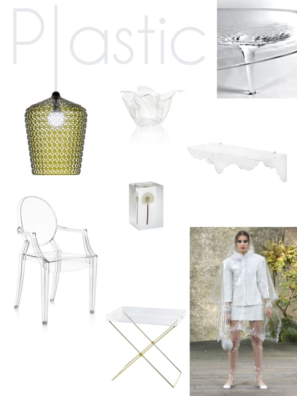 Plastic mood board: a selection of furniture and accessories.