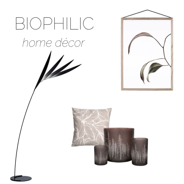 Selection of home accessories recalling natural shapes and patterns, ideal to create a biophilic design.