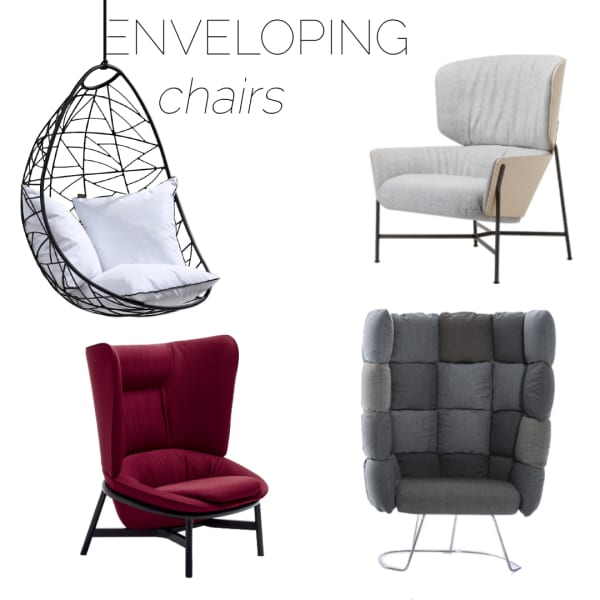 Selection of enveloping armchairs, great option to create a refuge area in a biophilic design.