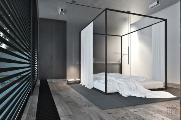 Contemporary canopy bed.