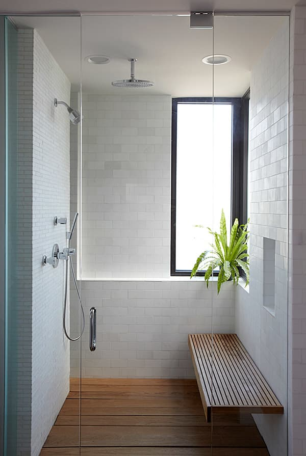 Walk-in shower, great option to create a refuge area in a biophilic design.