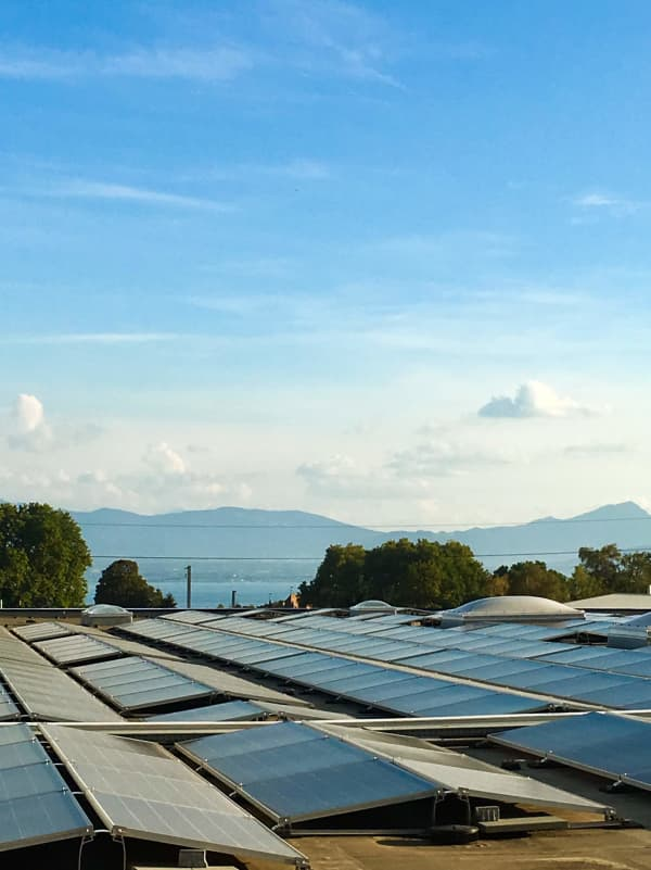 Solar panels on the roof of IKEA's Aubonne, a champion store for sustainability.