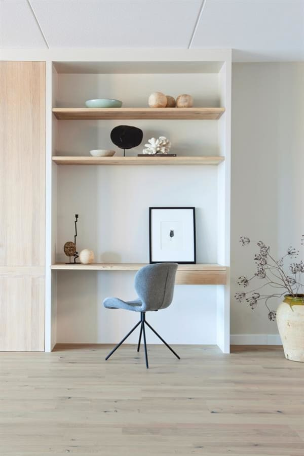 Small home office, minimalist style.