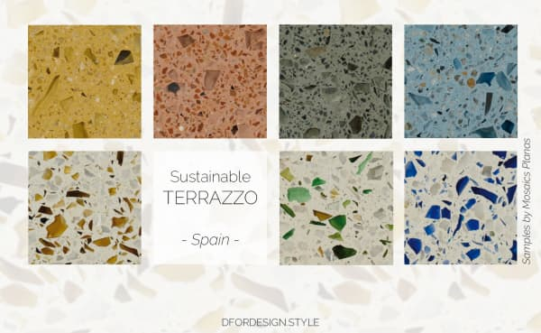 Recycled glass terrazzo samples.
