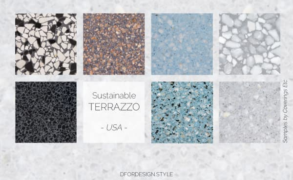 Recycled stone and cement terrazzo samples.