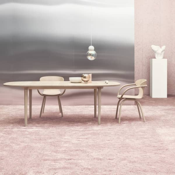 Pink dining area.