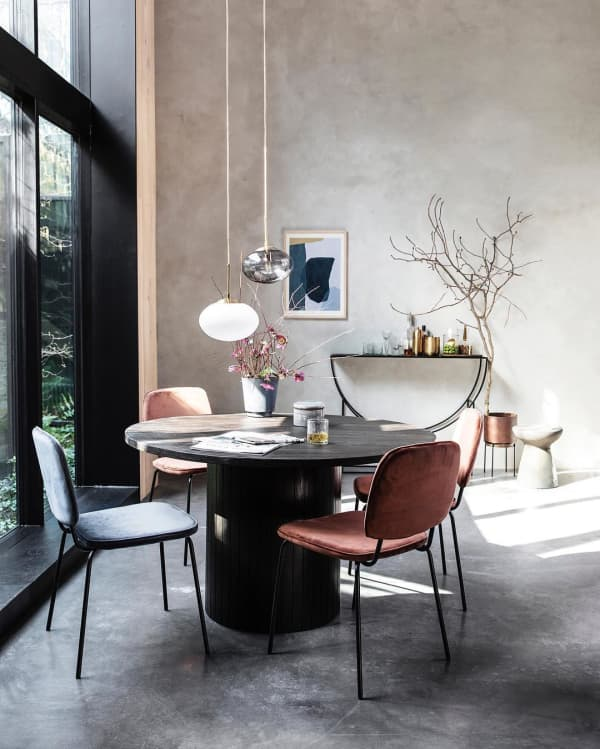 Sculptural dining room.