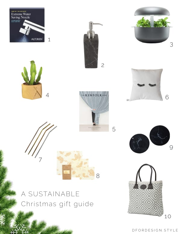 A collection of sustainable gift ideas for Christmas.