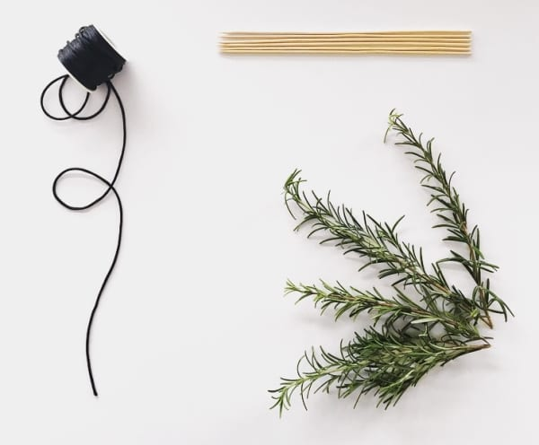 Flatlay of what is needed to make this DIY foliage minimal wreath.
