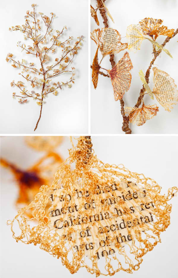 Textile art in the shape of a branch made of yarn leaves and close-up of a leaf showing the book fragment encased.