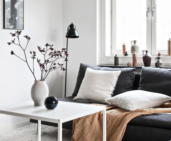 Sofa area with blanket and cushions that make the space cozy.