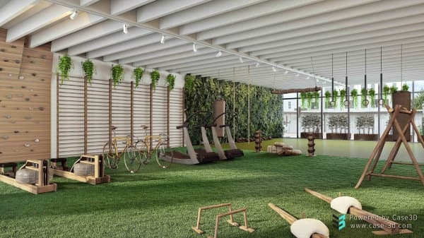 3D view of the different areas of a biophilic gym, all seamlessly tied together.