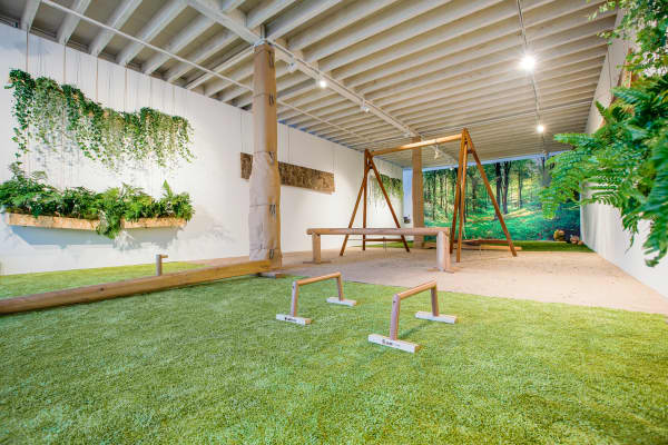 View of a biophilic gym with plants hanging on the walls, a mural depicting a soothing forest and grass-like carpet.