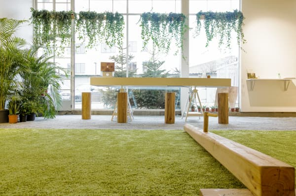 View of a biophilic gym showing wide floor-to-ceiling windows that let in a lot of natural light.