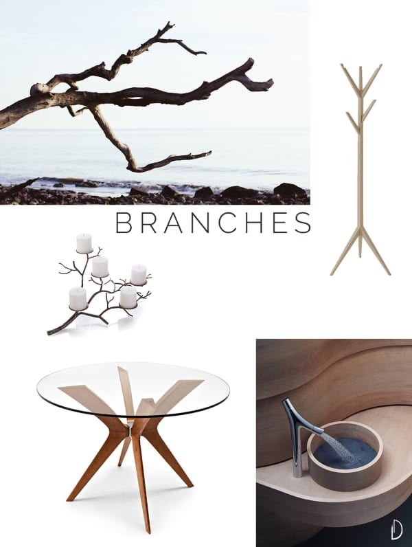 Moodboard of organic design objects inspired by branches.