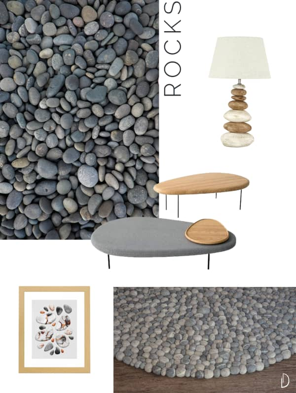 Moodboard of organic design objects inspired by rocks.