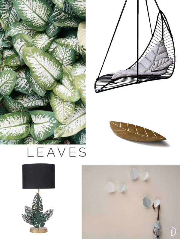 Moodboard of organic design objects inspired by leaves.
