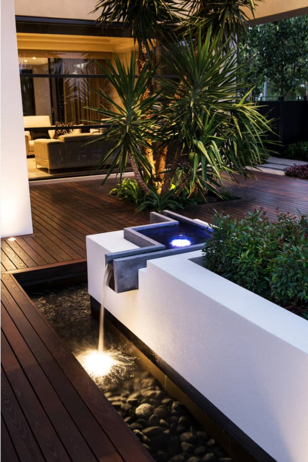 Small waterfall in a patio.