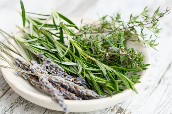A bowl filled with herbs for a natural scent.