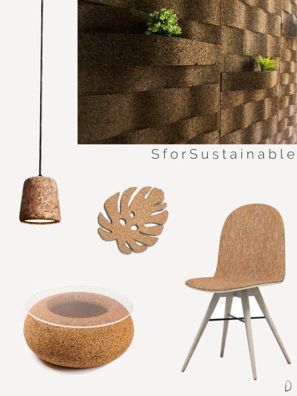 Cork furniture and accessories.