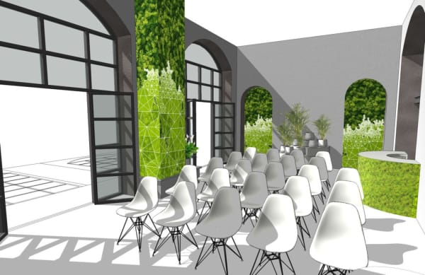 Rendering of the exposition area with plants and vertical gardens walls.