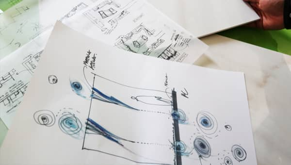A sketch of the MateriAttiva event at Milan Design Week 2019.