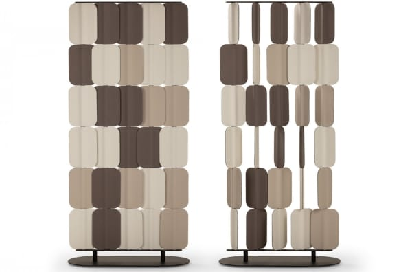 Felt room divider with individually rotating modules that allow to customize the room divider.