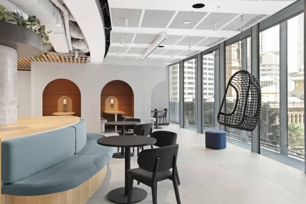 Common office area with a prevalence of curved lines in the design.
