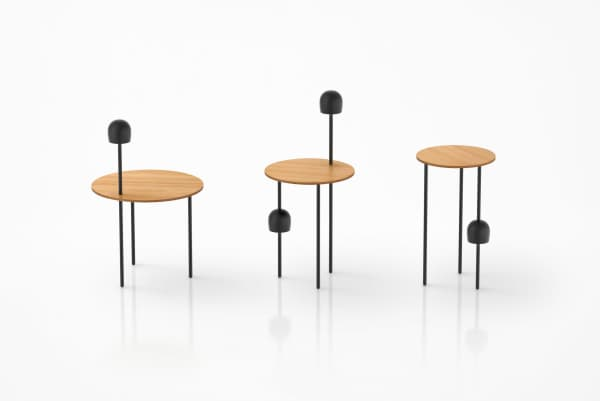 Side table with integrated light.