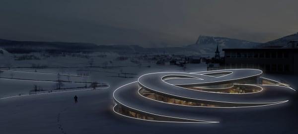 Tubolar modular light tracing the perimeter of a whole building.