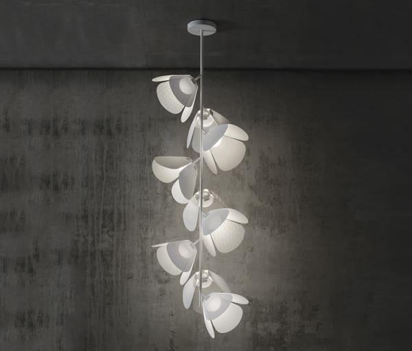 Modular pendant light whose modules look like flowers.