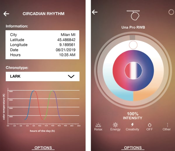 Screenshot of the Artemide App, that allows to adjust light to our circadian cycle.