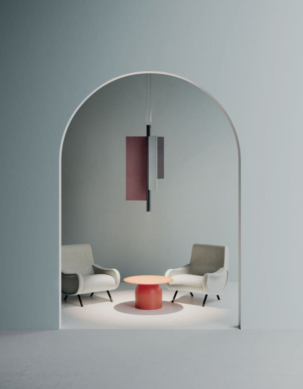 Cylindrical pendant light with three sound-absorbing panels mounted around the main structure.