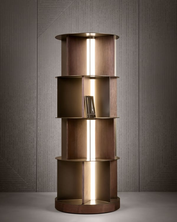 Light integrated in a bookshelf.
