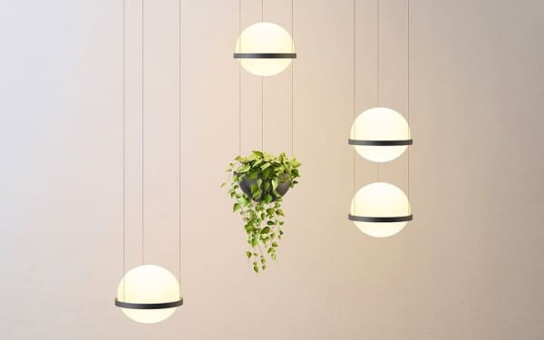 Pendant light with integrated planters.