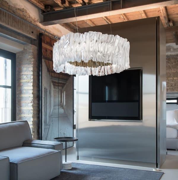 Contemporary interior with a big overhead pendant light.