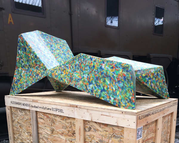 Colorful daybed with a terrazzo finish; one of the plastic recycling design projects joining the Guiltless Plastic Initiative.
